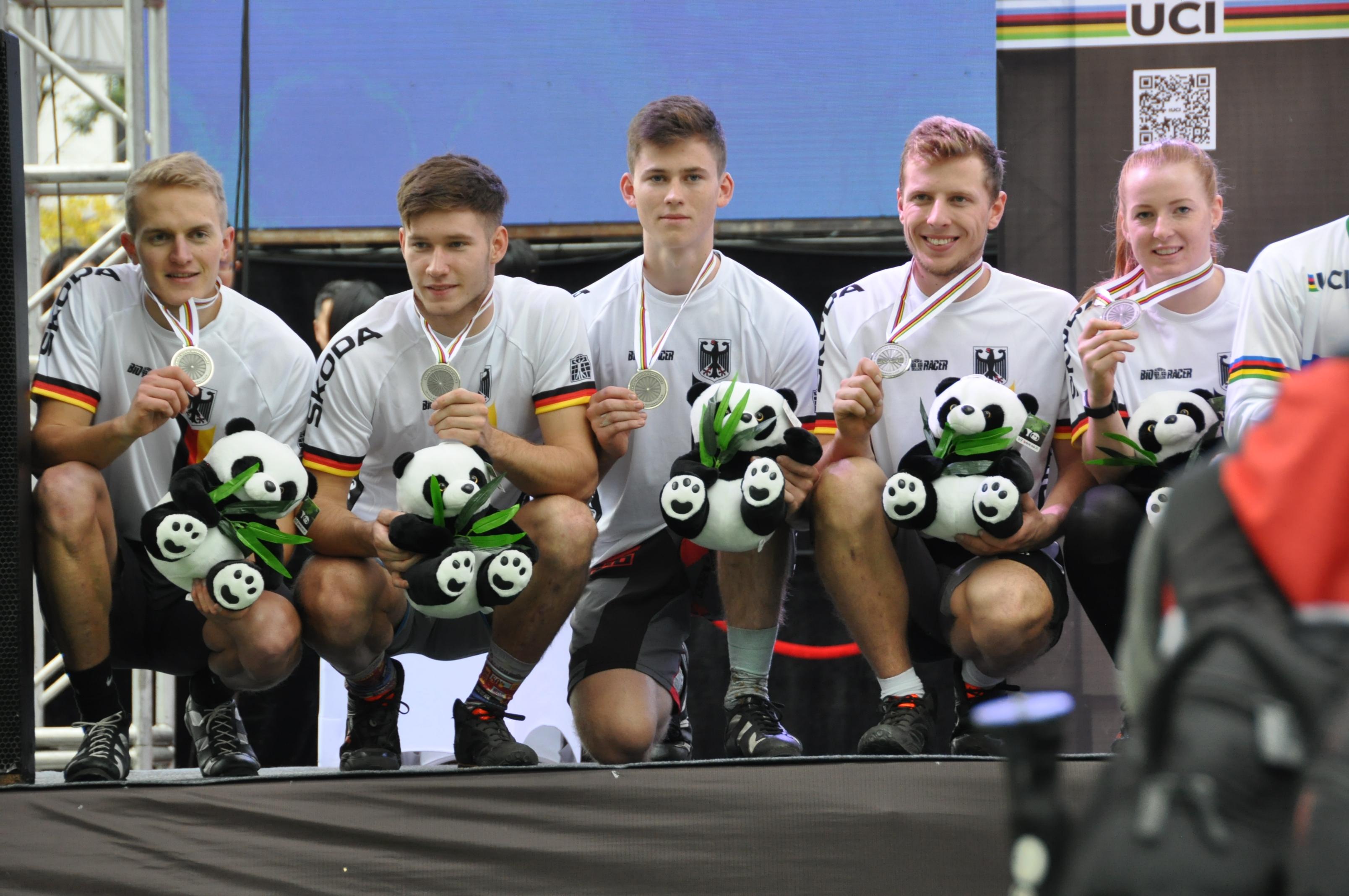 Das Fahrrad Trial Team der Deutschen bei der UCI in Chengdu China